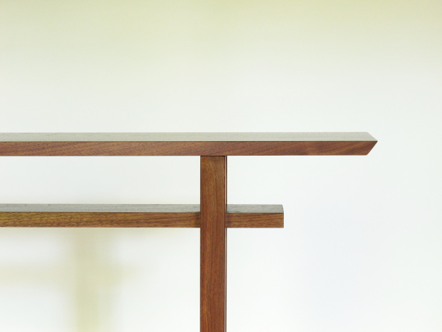 A narrow walnut console table- minimalist furniture design, handmade custom tables