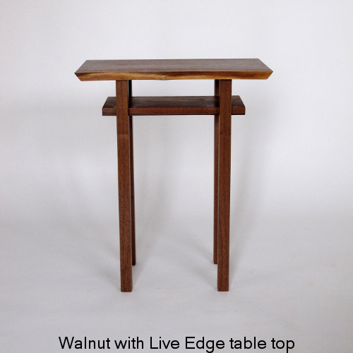 Our Classic Table is available in this small end table size with a live edge table top. Pictured here in walnut, this narrow table is perfect for small space decorating