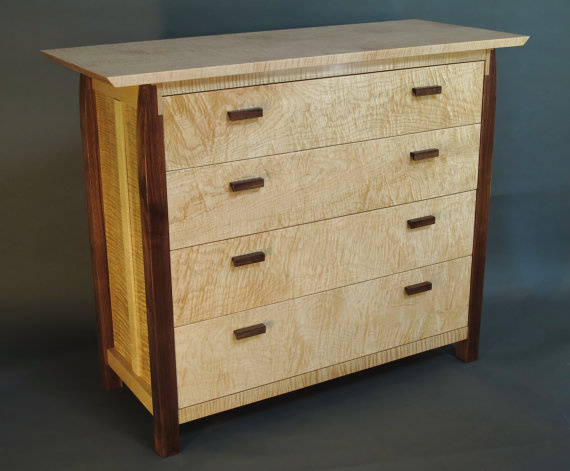 Modern wood dresser with four drawers. Elegant maple and walnut dresser, solid wood bedroom furniture