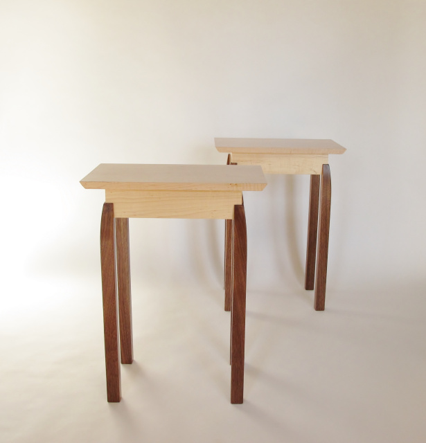 A pair of small narrow end tables- tiger maple and walnut narrow nightstands, small bed side tables, solid wood accent tabels for small spaces, narrow end tables- solid wood furniture handmade in the USA by Mokuzai Furniture