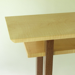 Mokuzai Furniture's Classic Table is available is this popular combination of Tiger Maple and Walnut