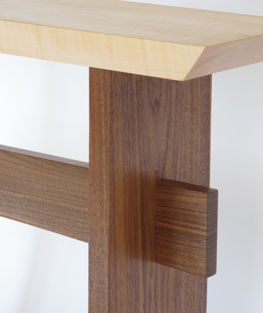 The unique craftsmanship of our fine furniture shows off the natural beauty of the wood. Narrow hall console tables, wood entry tables, Modern zen wood furniture by Mokuzai Furniture