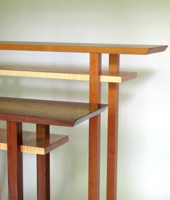 Our Classic Highlights Tables are available in cherry with tiger maple or walnut with tiger maple