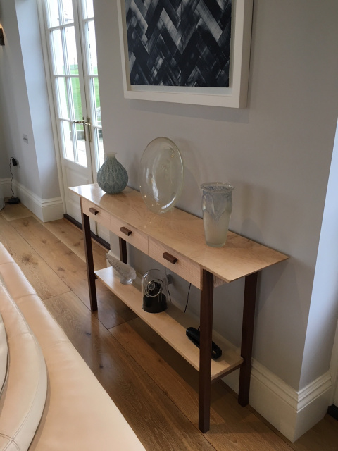 A narrow console table with three drawers - handmade solid wood furniture - tiger maple and walnut console table/side table