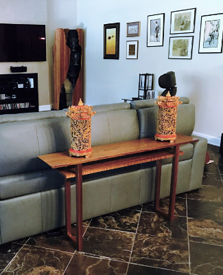 Solid Walnut Sofa Console Table- custom table for behind the couch, console table as room divider - Handmade Wood Furniture