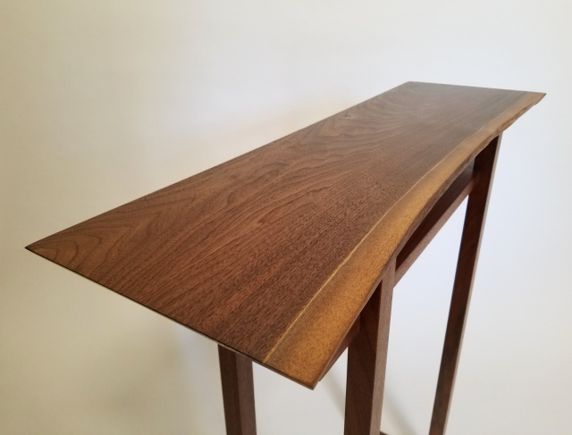 A narrow walnut console table for hallways narrow entry table or side table