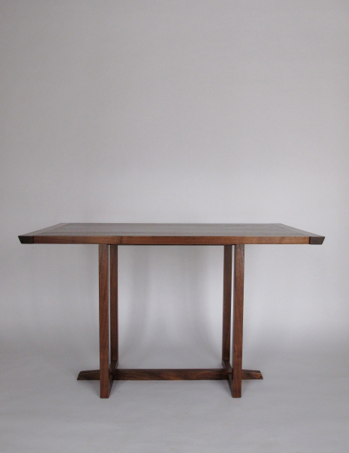 Classic Dining Table-in walnut narrow dining table for small dining room, eat in kitchen table, or breakfast nook table- mid century modern styling- handmade solid wood furniture