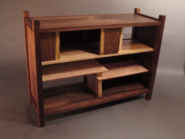midcentury modern wood media console cabinet entertainment media center, media storage, handmade custom wood furniture