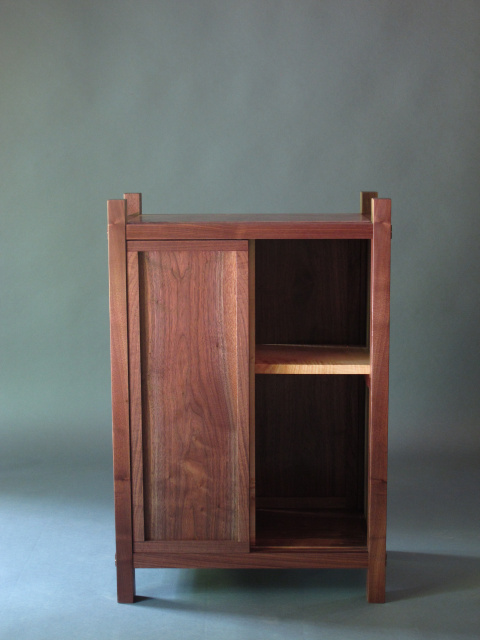 Solid Wood Bar Cabinet With Mid Century Modern Style Sliding Door And Unique