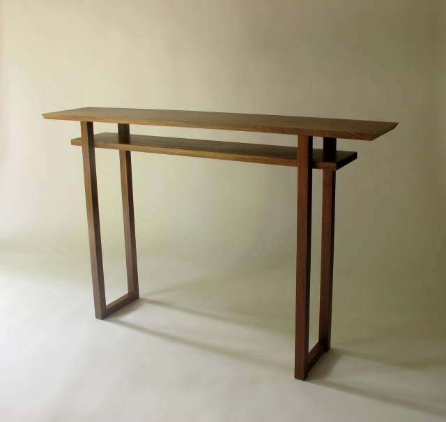 narrow console, bar table, mid century modern zen, artistic solid wood furniture