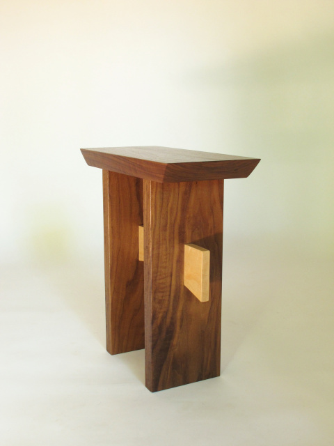 Simple and elegant this modern wood entry seat can also be used as a solid wood end table
