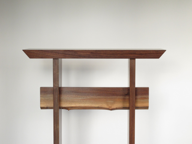 Minimalist modern wood table in solid walnut- handmade custom tables, entry tables, hall tables, side tables, accent furniture by Mokuzai Furniture