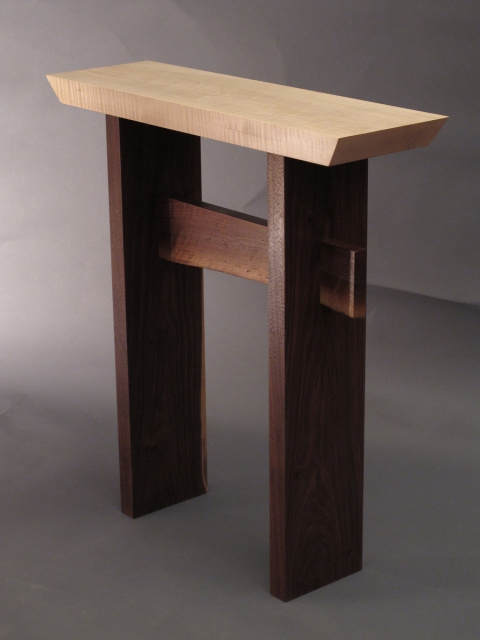 Custom Furniture- Mokuzai's Statement Side Table customized for your space.  A narrow side table, entry console table or artistic accent table for small spaces- Wood furniture handmade in the USA