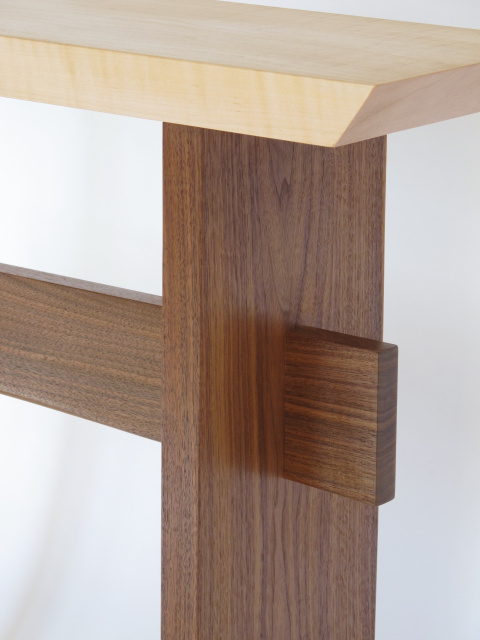 Our Statement Tables are available in two color combinations.  Pictured here is tiger maple and walnut for a small narrow side table, solid wood accent table or tall narrow end tables.