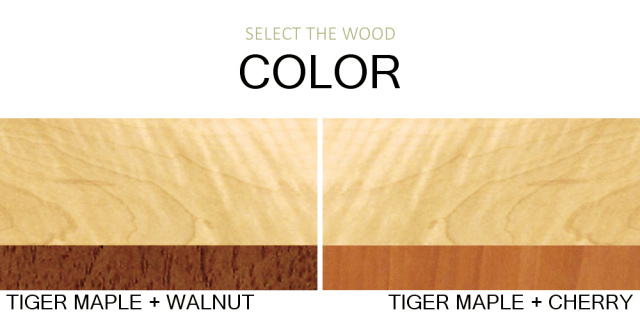 We create solid wood furniture from tiger maple, walnut and cherry. Our fine furniture is beautiful in these popular wood furniture color combinations for your entry console table, narrow hall table or small narrow end table.