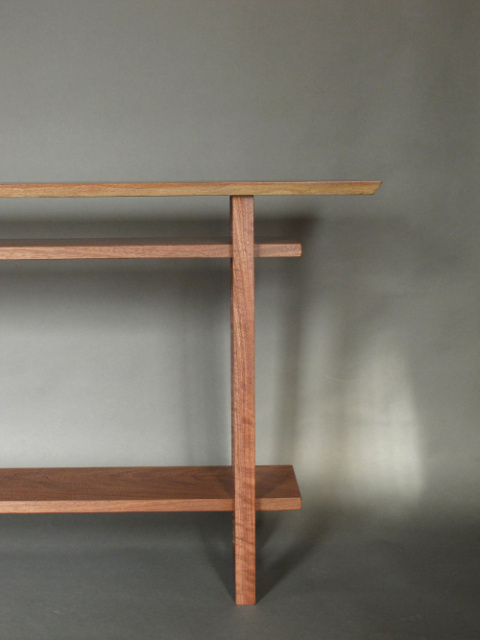 A modern wood table for hallways, entry table or sofa table pictured in solid walnut- handmade narrow console