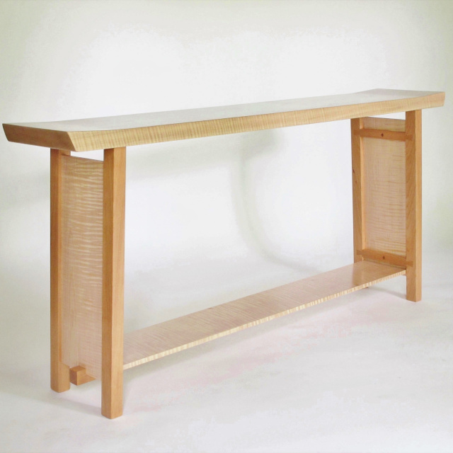 Long Narrow Console Table with Shaped table top and unique fine furniture details- Handmade solid wood furniture, pictured here in