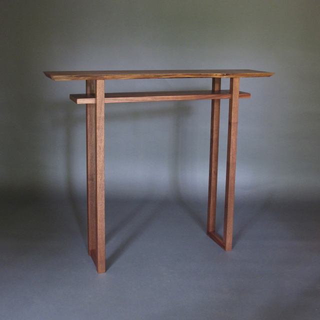 Popular CLASSIC TALL NARROW TABLE with Live Edge Table Top- a narrow  XZ08
