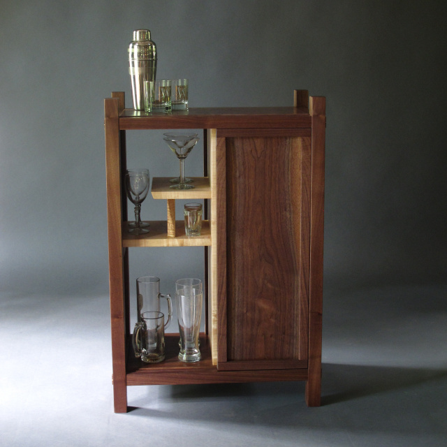 Modern Bar Cabinet- liquor cabinet, dry bar, narrow bar for the home- Walnut and Tiger Maple, Handmade Solid Wood Furniture