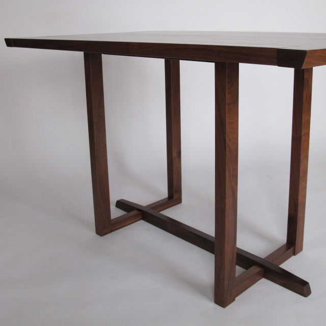 Narrow Dining Table- wood furniture for small spaces- breakfast table, table for two, eat in kitchen table- Pictured in Walnut