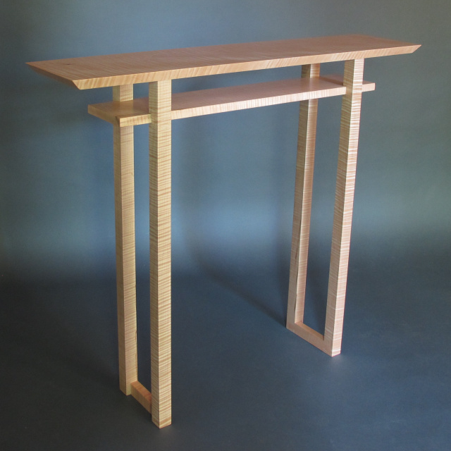 Classic Hall Table: console table, narrow vanity table- mid century modern furniture design handmade wood furniture made in the USA