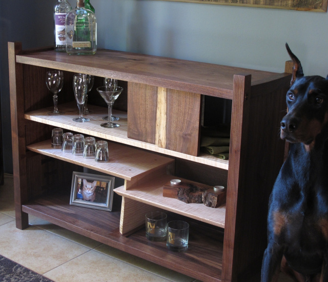 Walnut Bar Cabinet- Modern Sideboard, narrow hutch- mid century modern furniture, handmade and solid wood for modern living
