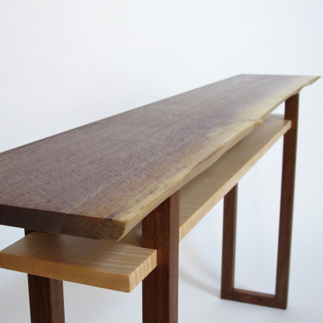 Live Edge Walnut Console Table- narrow wood table for hallways, entryway furniture, handmade custom tables.