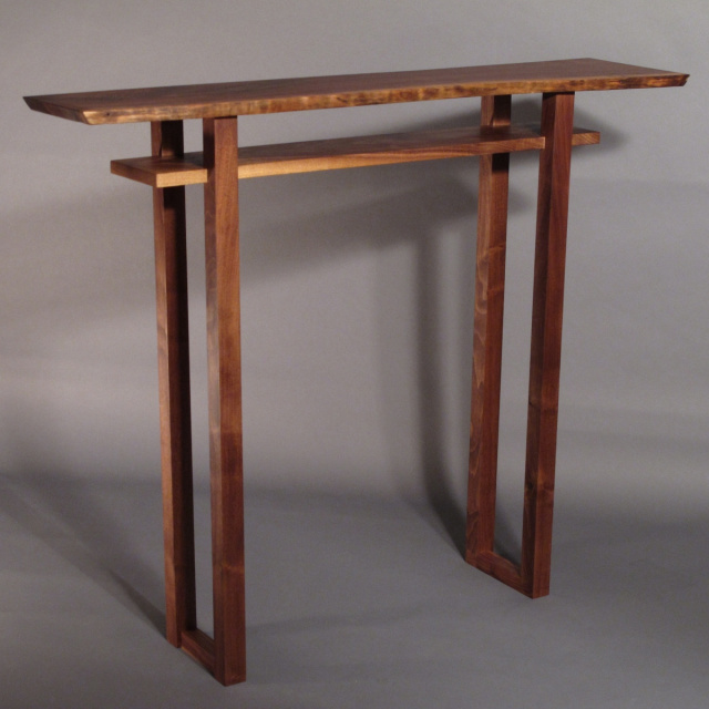 Small Bar Table- tall narrow console table, thin bar table made from Walnut- wood furniture, handmade in the USA