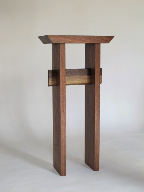 Walnut Statement Entry Table Small Tall Table For Narrow